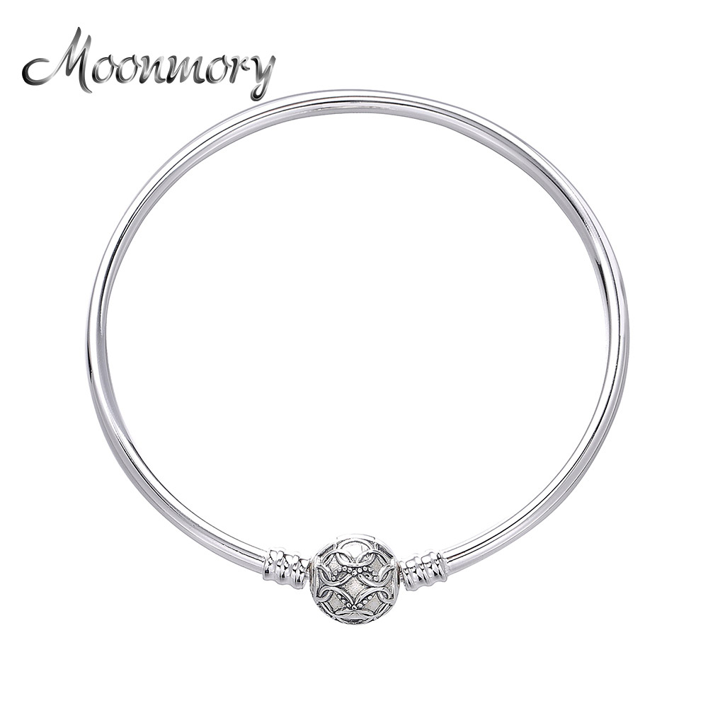 Moonmory 100% Authentic 925 Sterling Silver 2018 New Mother's Clasp Locker Bracelet & Bangles for Women Charms Jewelry Making