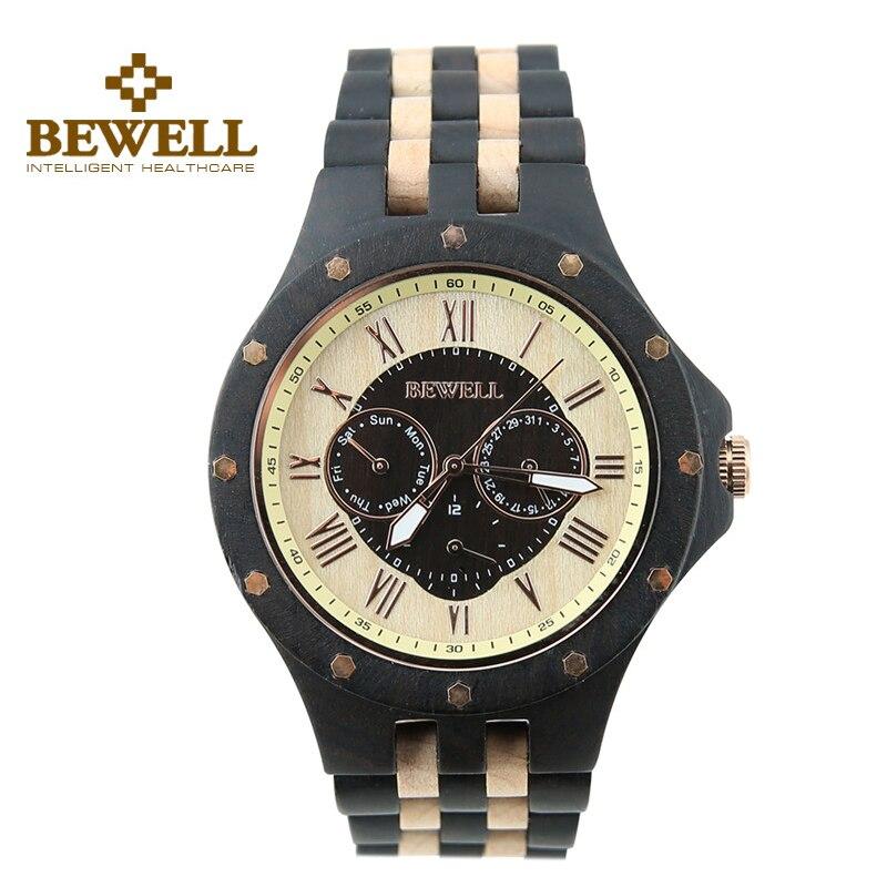 ФОТО BEWELL 116C Black And Maple Color Quartz Ebony Wood Auto Calendar Date Waterproof Watch Men Watches Relogio Masculino Wristwatch
