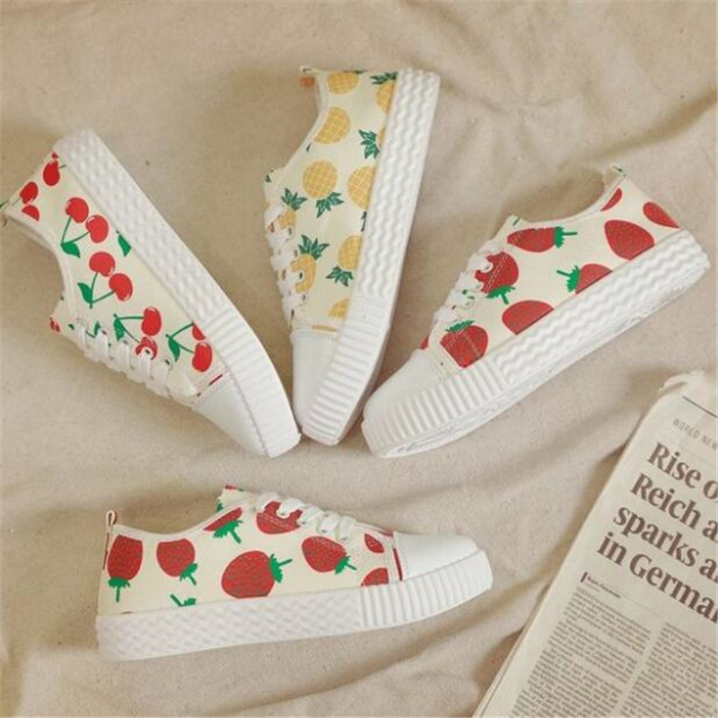 DIWEINI 2019 New Ladies Casual Shoes Fashion Breathable Canvas Lace-up Sneakers White Strawberry Pineapple Cherry F1 F2