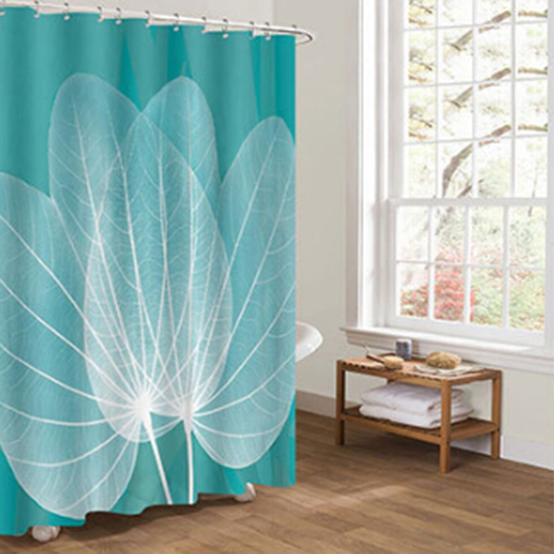 Dozzlor Withered Leaf Blue Yellow Shower Curtains For