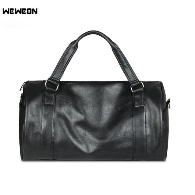 4d56f78baa8 Men s Large Capacity PU Leather Sports Bag Gym Bag Fitness Sport Bags  Duffel Tote Travel Shoulder Handbag Male Bag Black