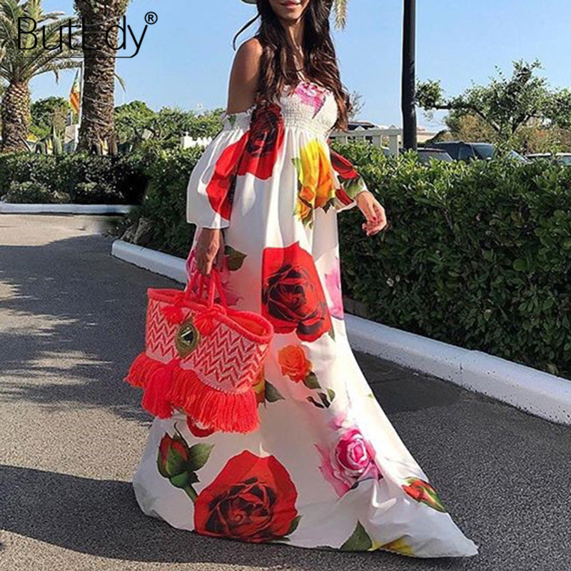 Print Big Red Floral Flower Long Floor-Length Maxi <font><b>Dress</b></font> <font><b>Women</b></font> 2019 <font><b>Sexy</b></font> Strapless <font><b>Summer</b></font> Beach <font><b>Dress</b></font> Boho Bohemian Sundress image