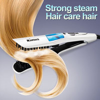 Steam Straightening Brush Escova Alisadora Fast heating Electric Smooth Brush Ceramic Hair Straightener Comb With LCD display