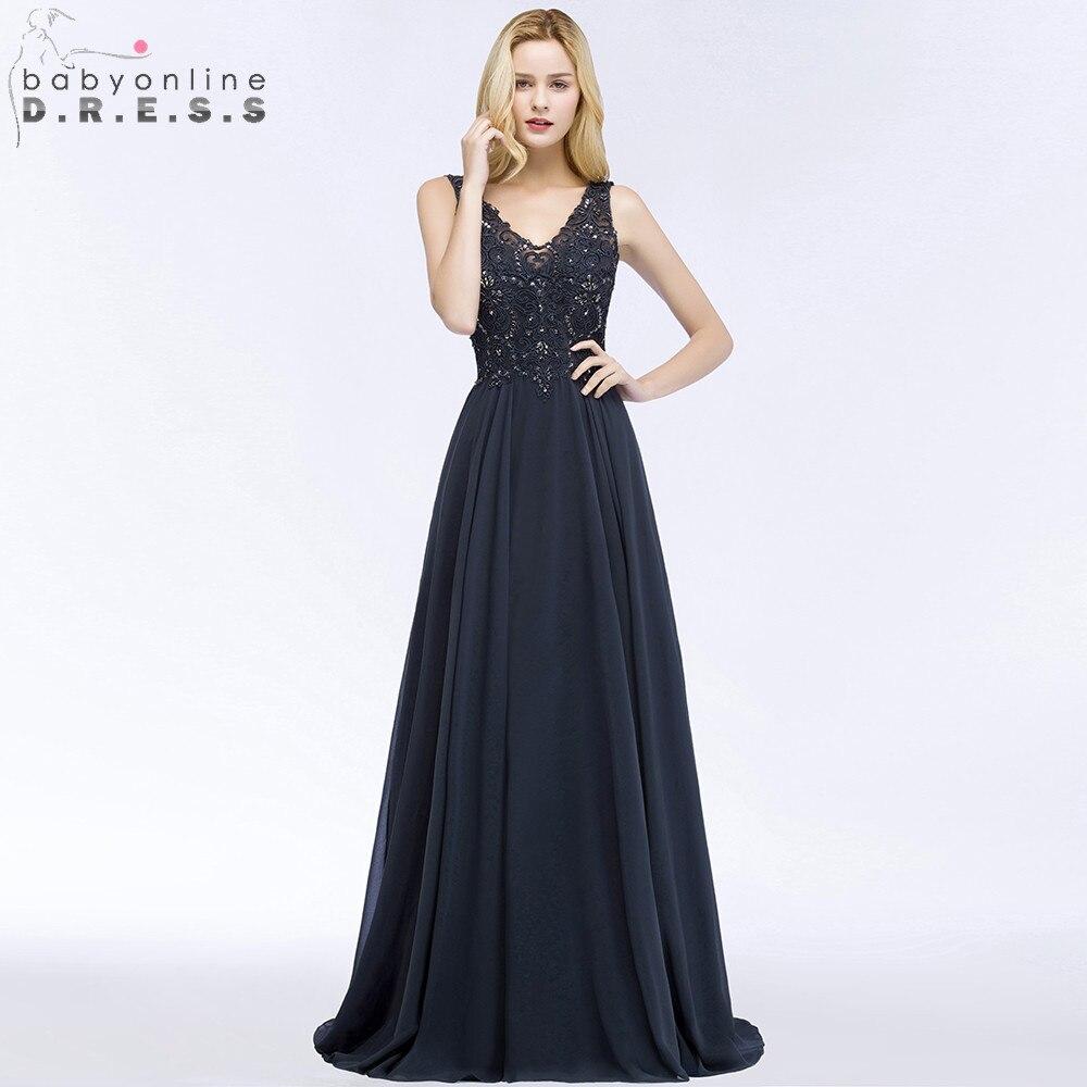 Robe de Soiree Longue Sexy Open Back Lace Chiffon Long Evening Dress V Neck Navy Blue