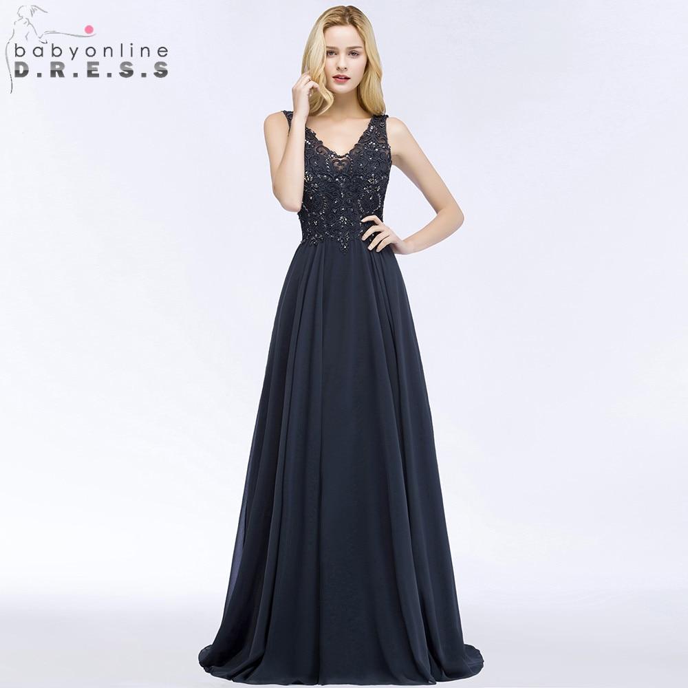 Robe de Soiree Longue Sexy Open Back Lace Chiffon Long   Evening     Dress   V Neck Navy Blue Beaded   Evening   Gowns Vestido de Festa