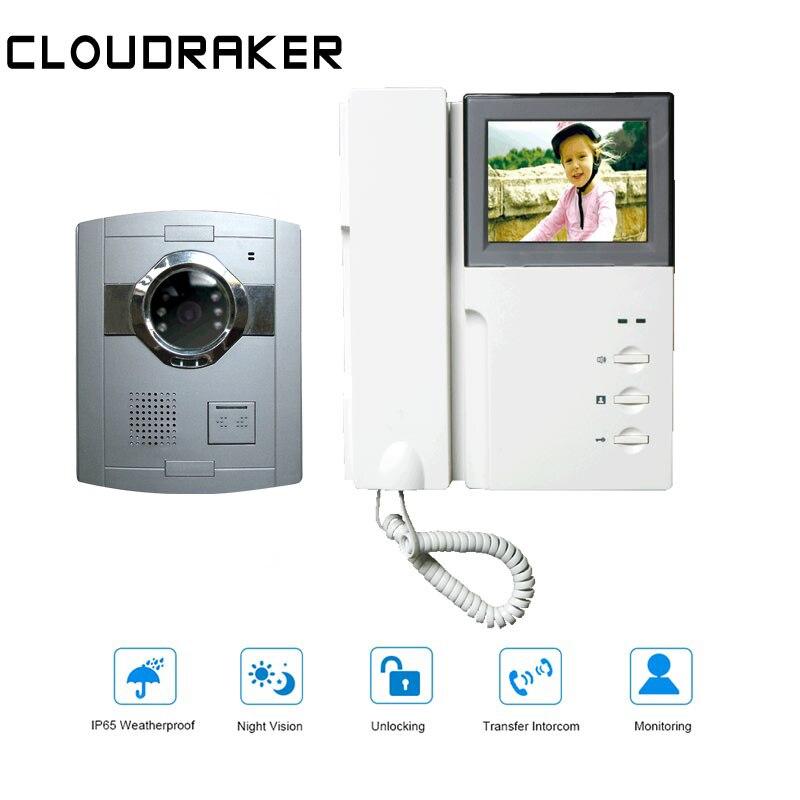 CLOUDRAKER 1x4.3 ''Monitor de Vídeo Porteiro Com Fio com 1x Câmera Do Telefone Da Porta de Vídeo Visão Nocturna do IR Desbloqueio