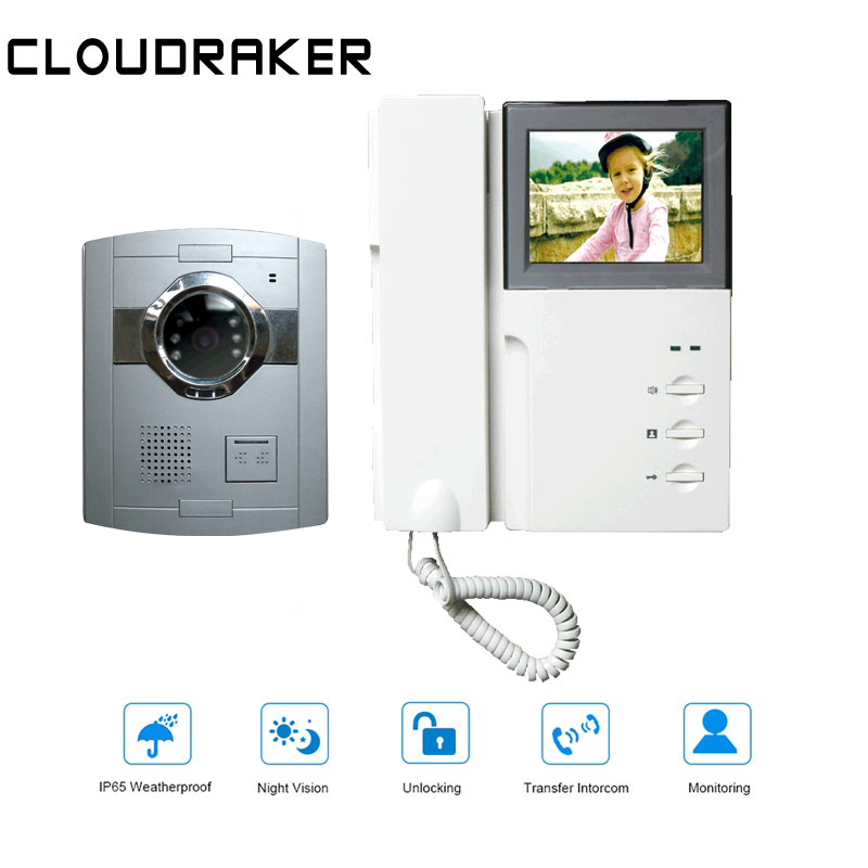 CLOUDRAKER Wired Video Intercom 1x 4.3'' Monitor With 1x Video Door Phone Camera IR Night Vision Unlock