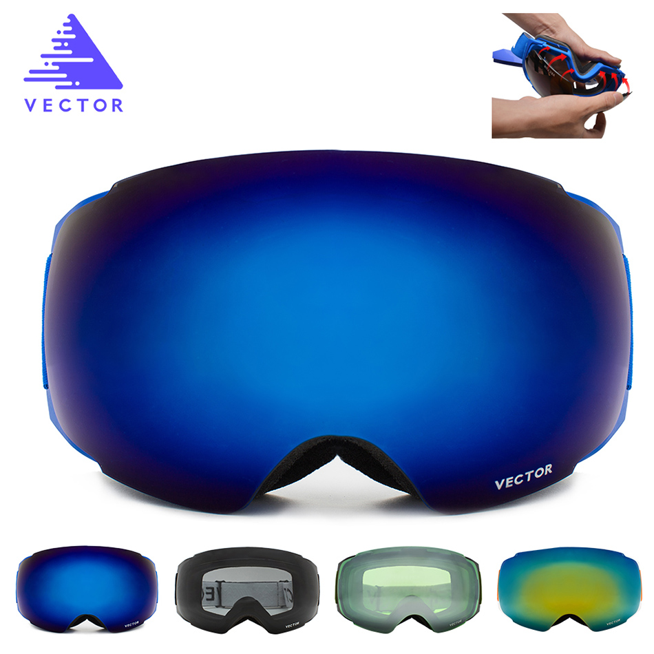 2019 Nouveau Magnétique Ski Lunettes homme femme Snowboard Lunettes pour Ski UV400 Protection Neige lunettes de Ski Anti-brouillard cagoule