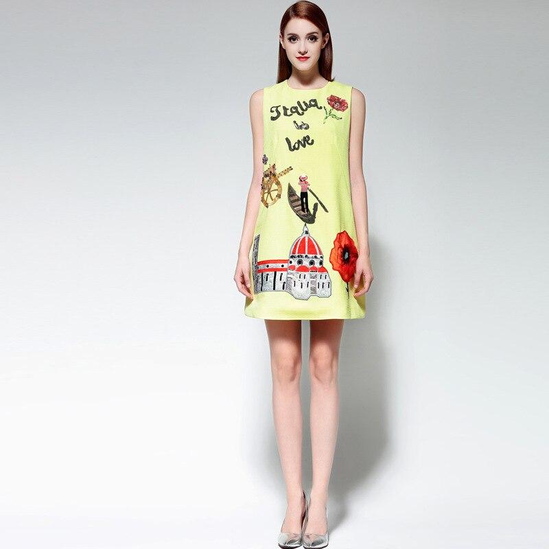 높은 품질 2017 o 목 칼라 인쇄 appliques 탱크 드레스 디자이너 여성 여름 드레스-에서드레스부터 여성 의류 의  그룹 1