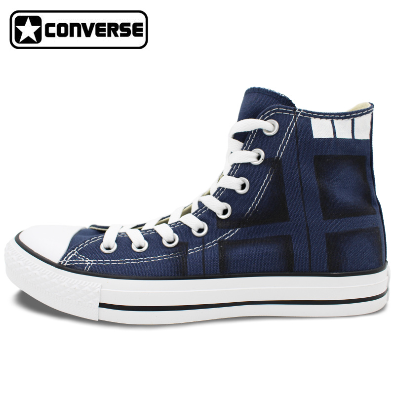 Hand Painted Blue Canvas font b Shoes b font Converse Chuck Taylor Design Custom Police Box