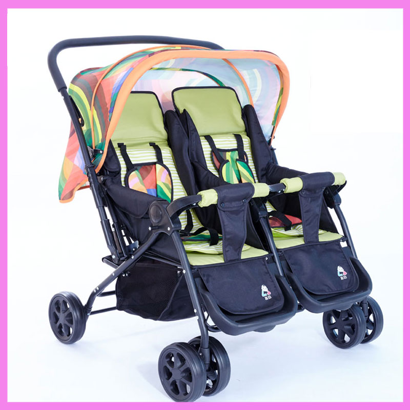 Twins Baby Folding Double Stroller Cart Adjustable Can Sit Can Lie Pram Buggy Umbrella Pushchair 1 M~4 Y twins stroller double stroller super twins stroller carrier pram buggy leader handcart ems shipping