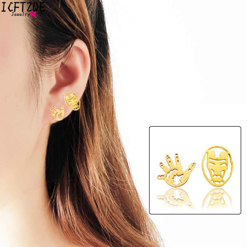 ICFTZWEc The Avengers Super Heroes Jewelry Comic Iron Man Earring Fashion Jewelry For Women Gold Pendientes Hombre BFF