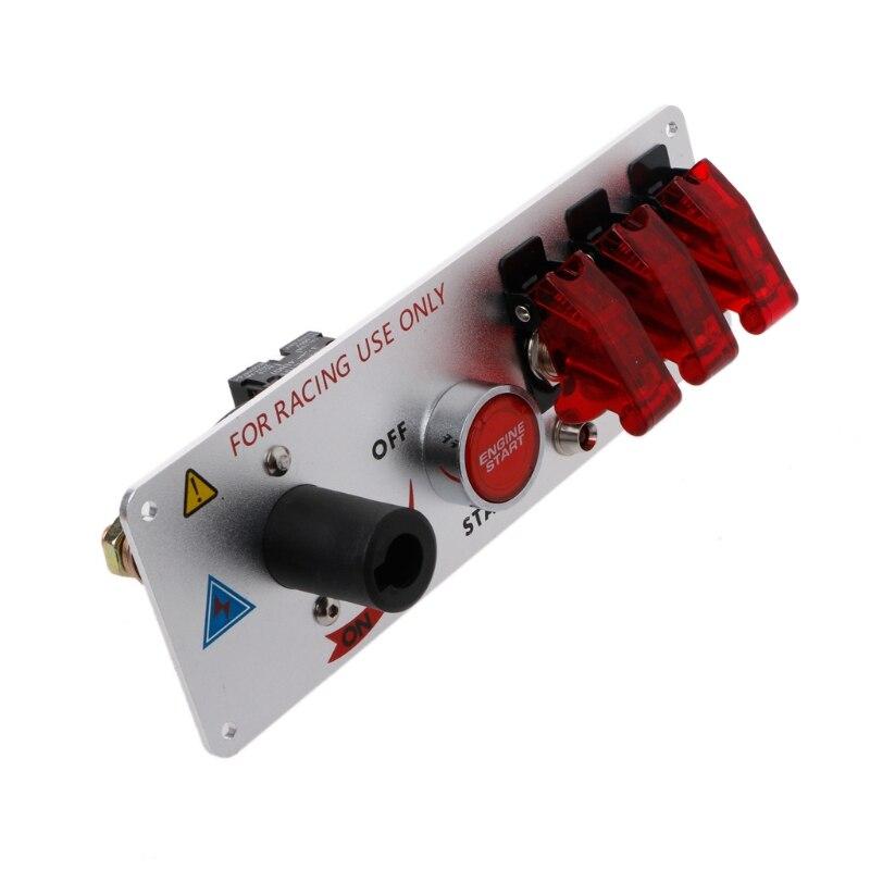 Racing Car Auto 12V LED Toggle Ignition Switch Panel Engine Start Push Btns Kit Set