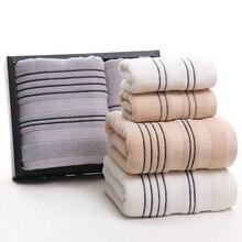 New 100% Cotton Towel Set Striped 1 Piece 70*140cm Bath 2 Pieces 34*75cm Face Towels Gift telo mare 3PCS/Set Dropshipping