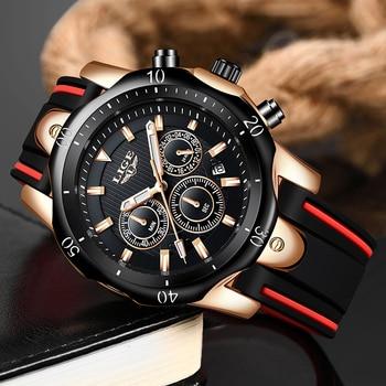 erkek saat LIGE Men Sport Watch Chronograph Silicone Strap Quartz Army Military Watches Clock Men Top Brand Luxury Watch Male