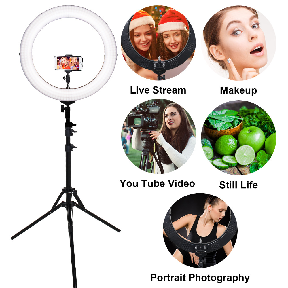 ASHANKS RL-18 Dimmable photography ring light with carry bag 448pcs led beads 55w ringlight lamp for makeup & light tripod
