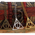 JINSE New Fashion Chic Vintage Retro Unisex Triangle Pendant Deathly Hallows Bib Choker Necklace Sweather Chain 2pcs/lot
