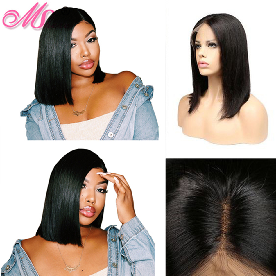 Human Hair Short Bob Wigs For Women Lace Front Straight Hair Wigs Bleached Knots PrePlucked Front