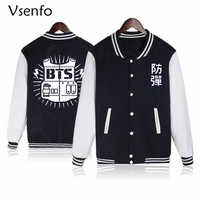 Vsenfo BTS Bangtan Boys Sweatshirt Women Casual Jacket Coat Autumn Winter Fleece Baseball Uniform Cotton Jacket