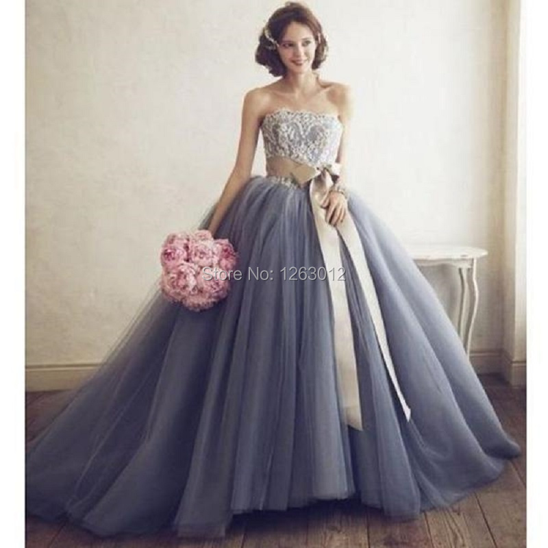 Grey Strapless Prom Dresses Vestidos de Gala Lace Applique with Belt Tulle Ball Gown Dress for Formal Party