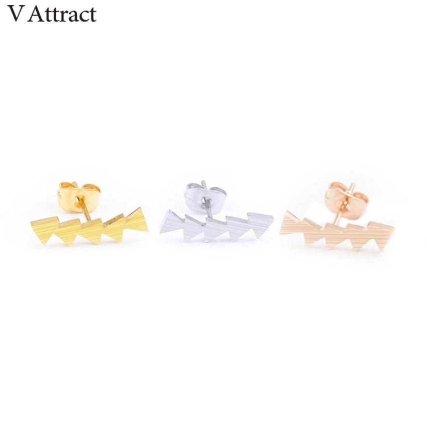V Menarik Segitiga Geometris Dalam Garis Ear Cuff Crawler Stud - Perhiasan fashion - Foto 4