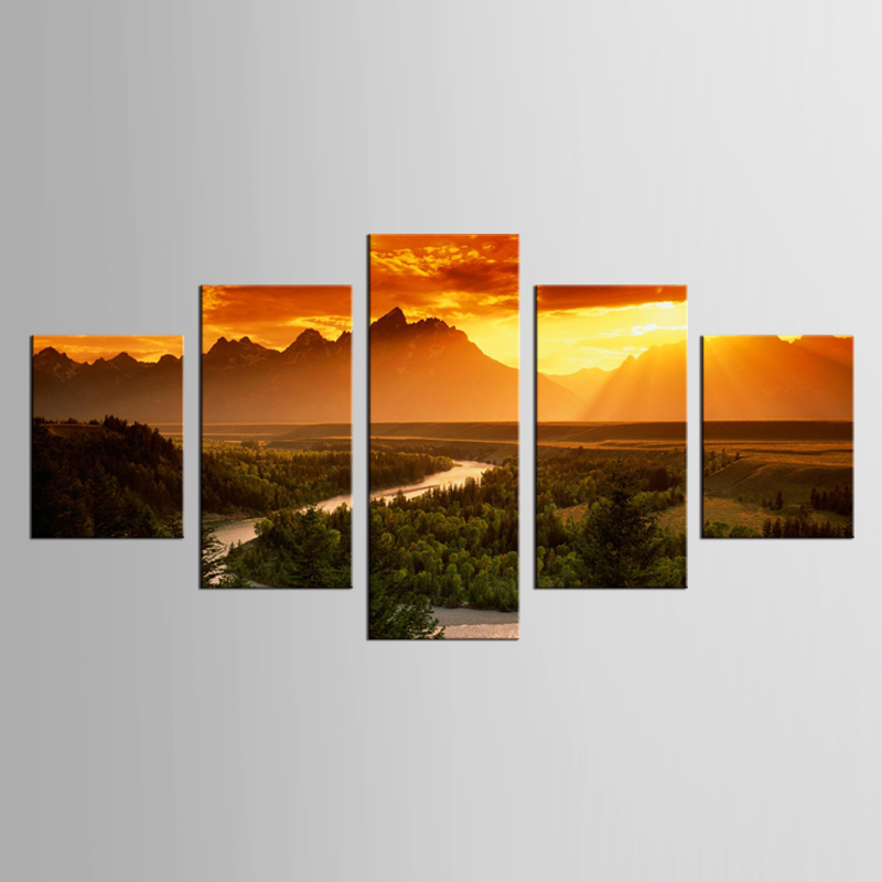 5 pieces of canvas art dusk road painting custom printed on wall picture home decoration XL-FJ (31) -1