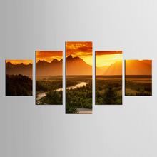 купить 5 pieces of canvas art dusk road painting custom canvas printed on canvas printed wall picture home decoration XL-FJ (31) -1 по цене 674.76 рублей