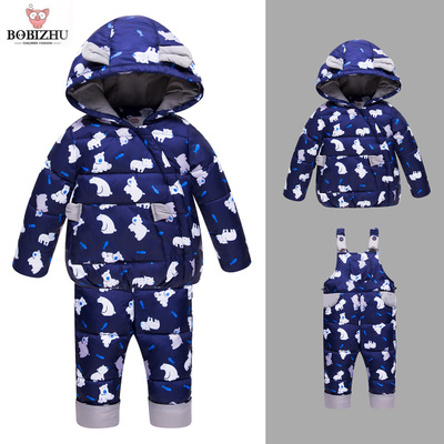Boy Girl Winter Set Kids Goose Down 95%+ Toddler Hooded Coat Infant Warm Animal Pattern Four Color Optional  Baby Ski Suit