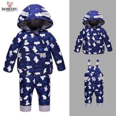 Boy Girl Winter Set Kids Goose Down 95%+ Toddler Hooded Coat Infant Warm Animal Pattern Four Color Optional  Baby Ski Suit