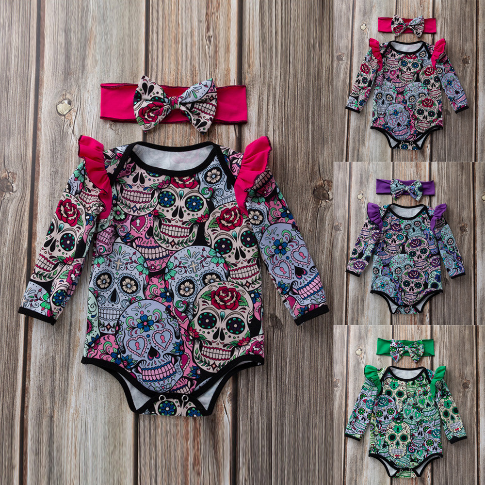 Newborn Baby Girls Long Sleeve Halloween Cartoon Skull Romper Jumpsuit body for newborns 2019 New baby girl clothesNewborn Baby Girls Long Sleeve Halloween Cartoon Skull Romper Jumpsuit body for newborns 2019 New baby girl clothes