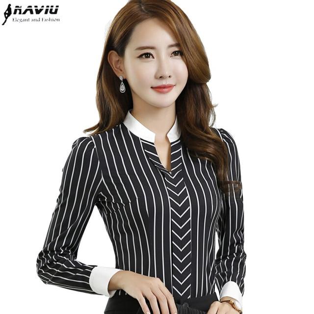 25f5d9f70 € 15.02 |Nueva OL raya de la manera V cuello blusas de las mujeres delgadas  elegantes formales camisa señoras de la oficina de manga larga de gasa ...