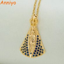 Anniyo Basilica of Our Lady of Aparecida Gold Color Pendant Necklaces,W/Cubic Zirconia Virgin Mary Necklaces Catholicism #035704(China)
