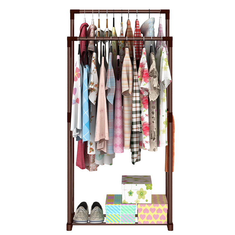 Stylish minimalist home bedroom storage furniture stainless steel modern standup portable closet multipurpose wardrobe coat rack