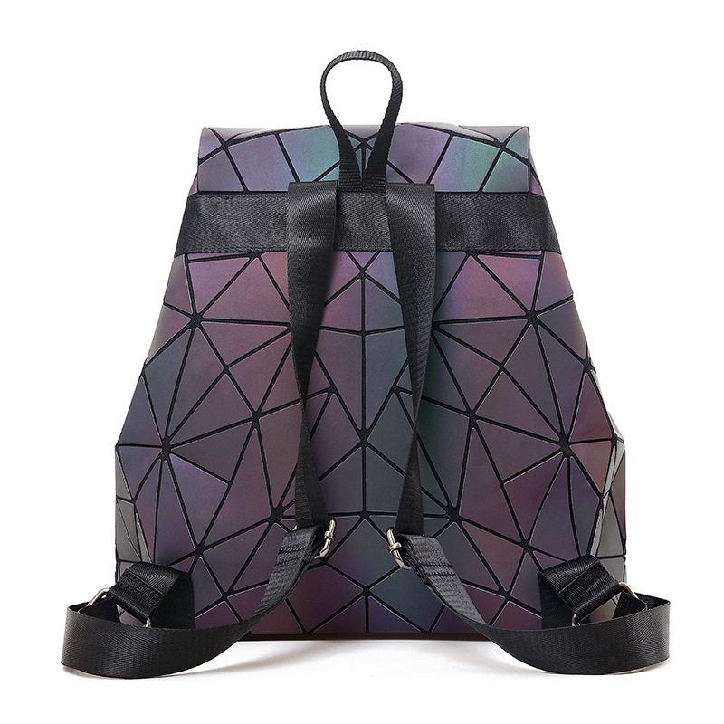 Women Backpack Luminous Geometric Plaid Sequin Female Backpacks For Teenage Girls Bagpack Drawstring Bag Holographic Backpack #2