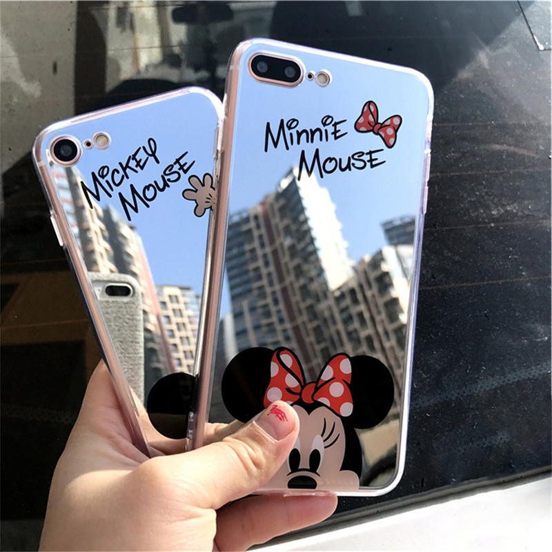 Cartoon Mickey Mouse Mirror Phone Cases For Iphone XS MAX XR 6 6S Plus SE 5S Silicone Soft Back Cover For Iphone 7 8 Plus X Case