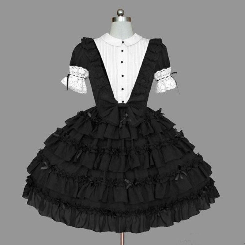 18th rétro gothique Lolita robes noir et blanc coton dentelle volants Cosplay Costume pour fille personnalisé