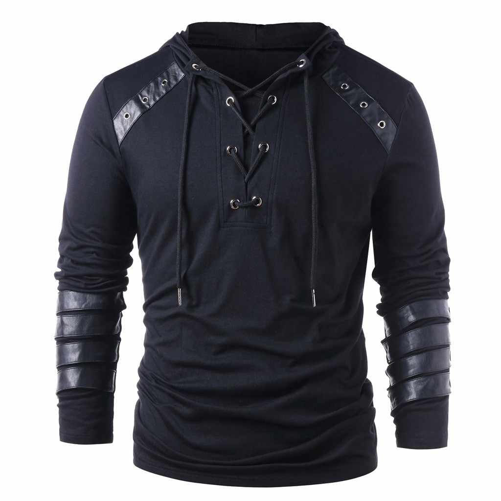 2018 Spring Men Hoodies Drawstring Leather Patchwork Hooded Sweatshirt Long Sleeve Male Casual Pullover Tops Blouses