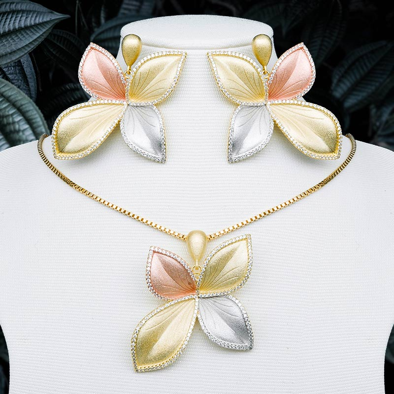 ModemAngel High Quality Luxury Leaves 3 Tone Copper Pendant Necklace And Earring Set For Dubai Women
