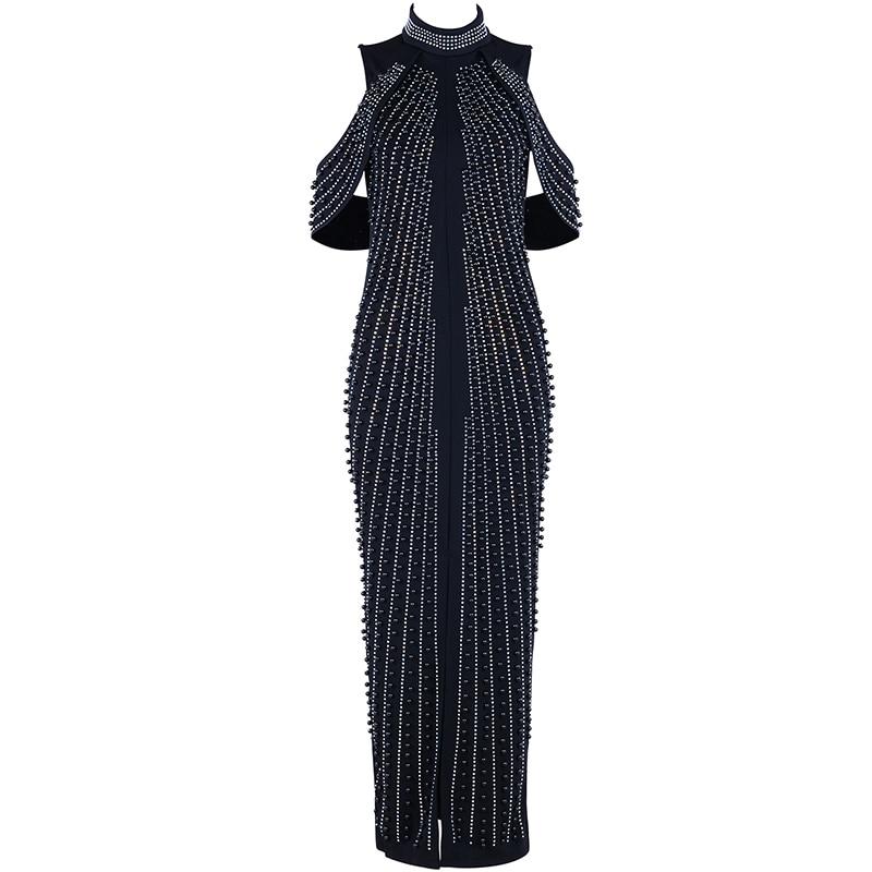 D'été Bandage Maxi Mode De Noir Blanc Femmes À Noir Hors Robe Robes L'épaule blanc Nouvelles Paillettes Soirée Sexy t6SW4wqZx