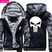 BOOCRE 2017 New Arrival Winter Warm The Punisher Hoodies Casual Skull Hooded Coat Men Cardigan Thick Zipper Jacket Sweatshirt
