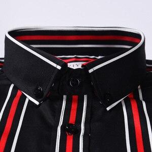 Image 2 - Мужская хлопковая рубашка в разноцветную полоску, удобная классическая рубашка в стиле смарт кэжуал, с короткими рукавами, воротником на пуговицах, не требует особого ухода