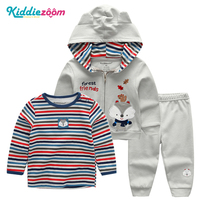 3Pcs Set Cotton Long Sleeved Top+Pants+Hooded Jacket 12-24M