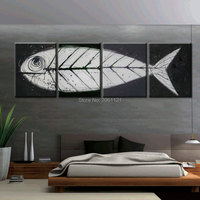 big gray black pop art modern wall art Fish bone canvas painting hand artwork ideas oringinal decorative piece sets 4 panel gift