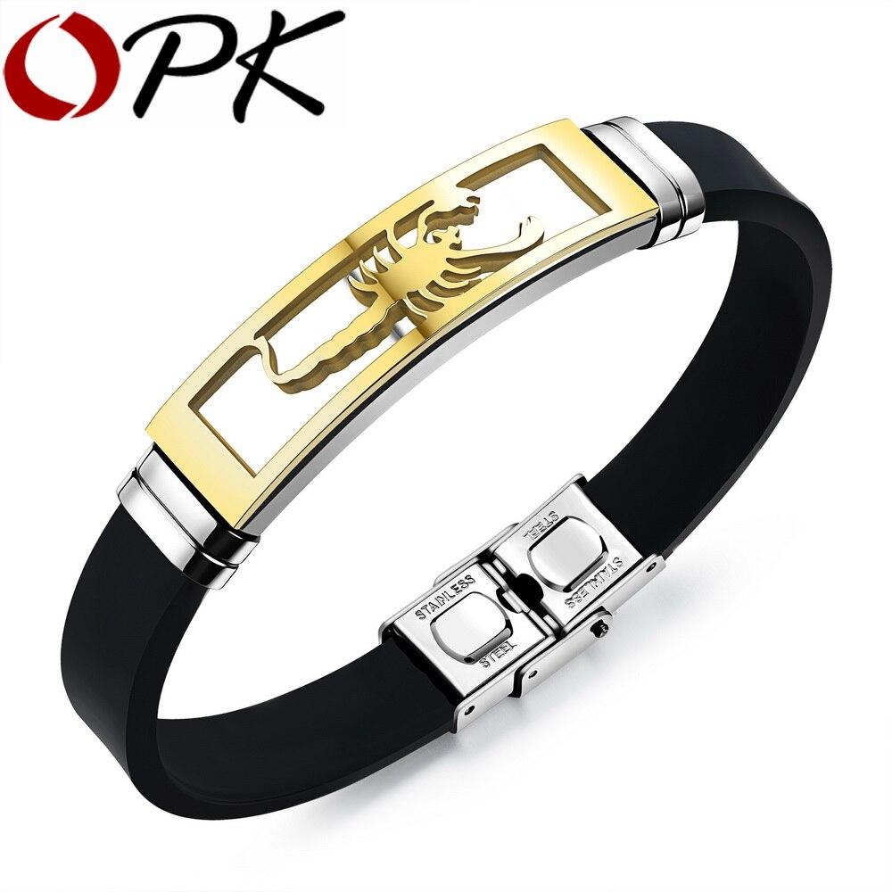 OPK Silicone Homme Bracelets De Mode En Acier Inoxydable Scorpion Conception Longueur Réglable Cool Hommes Bijoux Bracelets PH1085