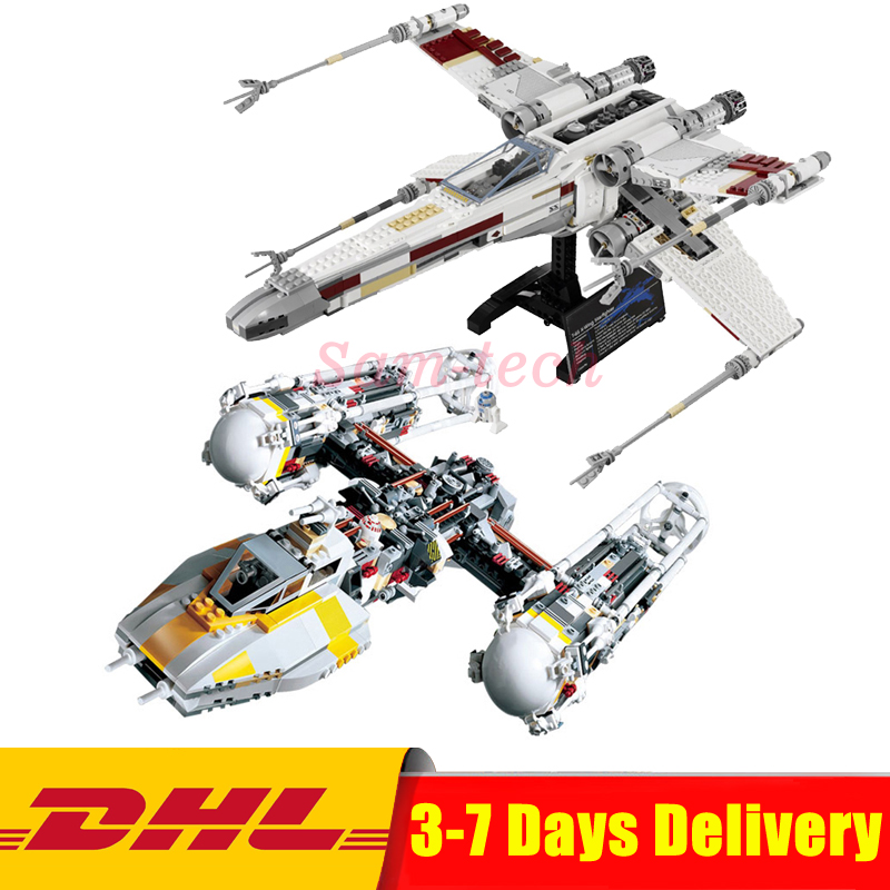 Clone 10240 10134 LEPIN 05039 UCS The X-wing +05040 Y-wing Attack StaRed Five Starfighter Model Building Blocks Bricks Toys lepin 05040 y attack starfighter wing building block assembled brick star series war toys compatible with 10134 educational gift