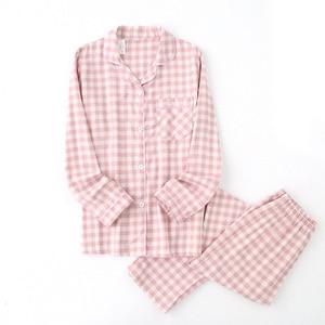 Image 3 - Lovers Spring New Pajama Set Plaid 100%Gauze Cotton Men And Womens Couple Sleepwear Turn Down Collar Household Wear Casual Wear