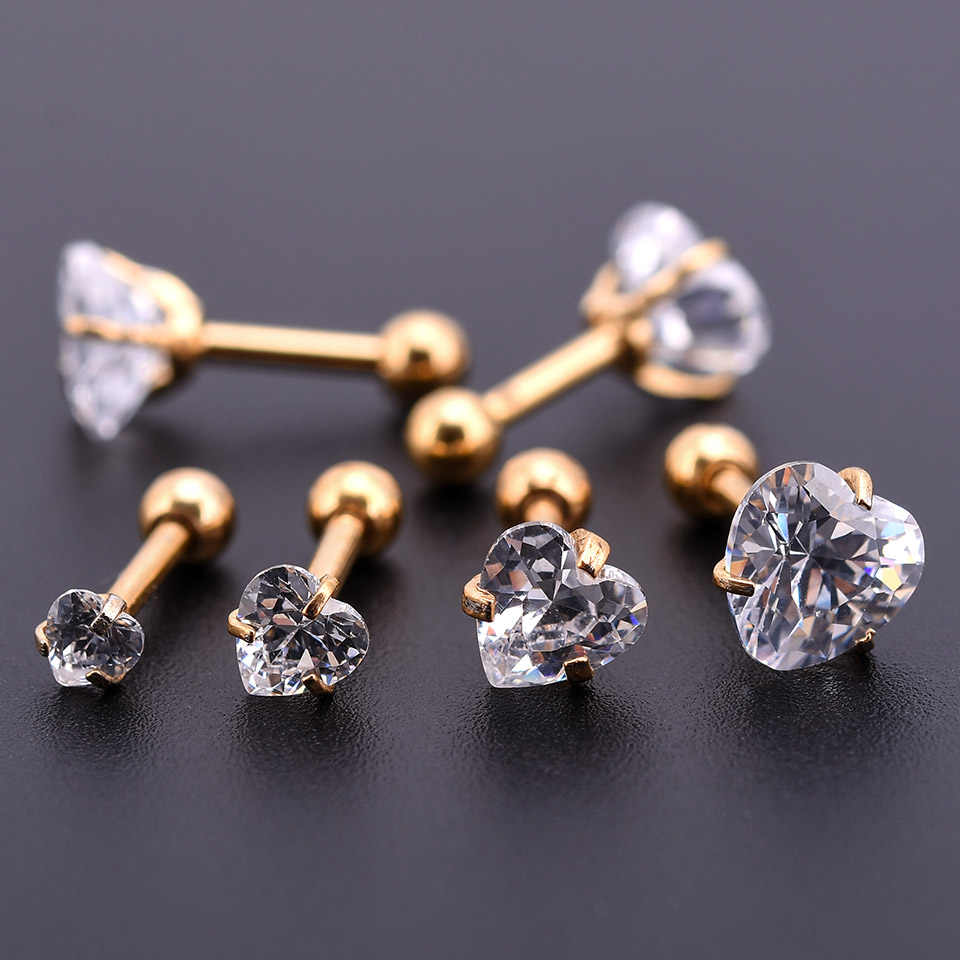 One Gold  Zircon Crystal Round Ball Tongue Lip Bar Ring Stainless Steel Barbell Ear Stud Body Piercing Jewelry