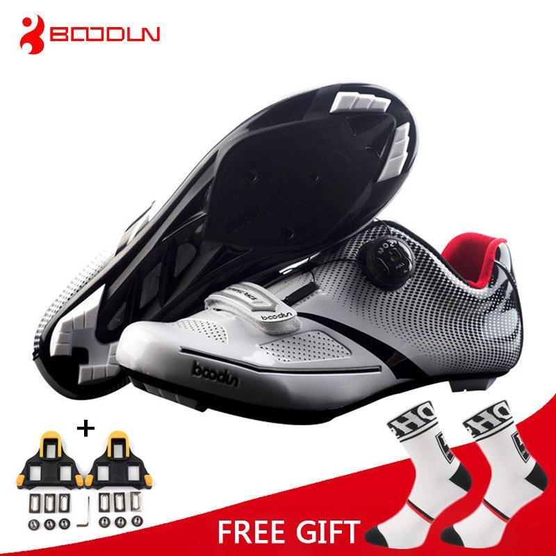Boodun Respirant Pro Auto-Verrouillage Vélo Chaussures Vélo De Route Vélo Chaussures Ultralight Racing Sneakers Zapatos Ciclismo