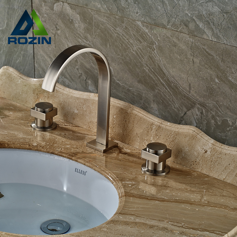 ФОТО Best Qulity Dual Handle 3 Holes Basin Mixer Faucet Deck Mount Brushed Nickel Water Tap