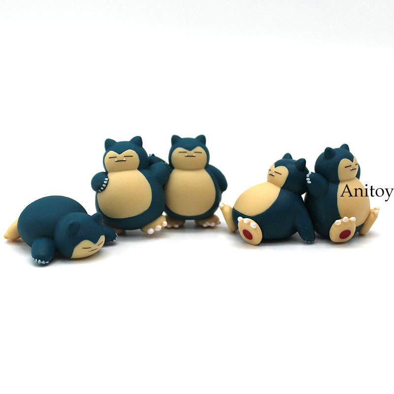 Anime Cartoon Snorlax PVC Figures Toys Dolls Kids Childrens Gift 5pcs/set 4cm ...